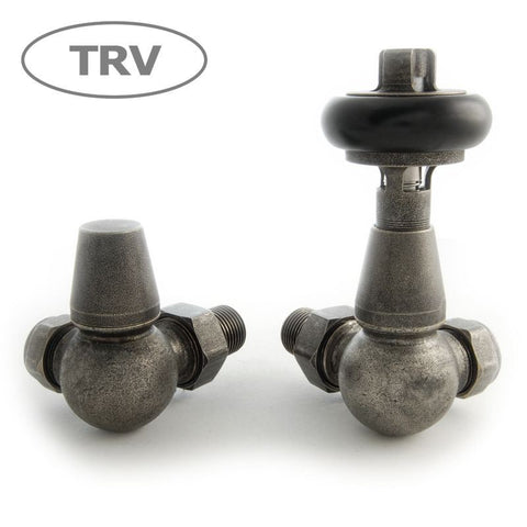 Faringdon Traditional Corner Thermostatic Radiator Valves  - Pewter TRV