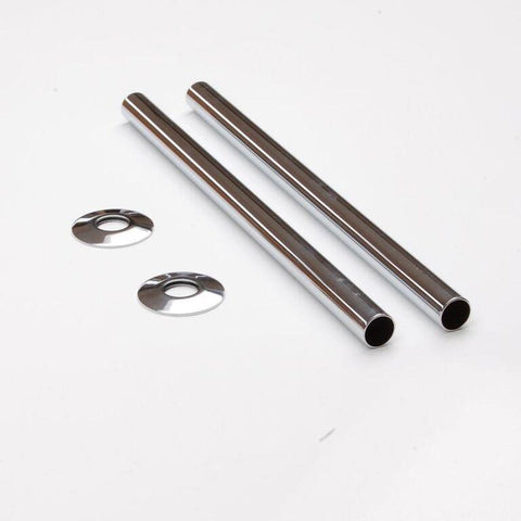 Radiator Pipe Covers (30cm) - Chrome Sleeves and Collars (for 15mm Pipes)