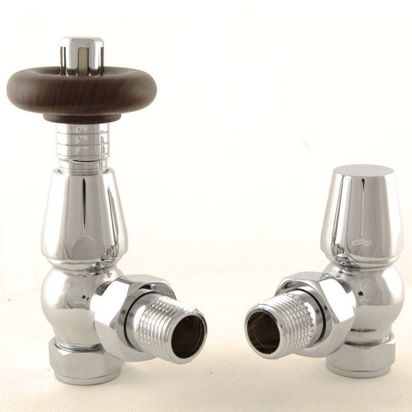Bentley Angled TRV Traditional Thermostatic Radiator Valves - Chrome