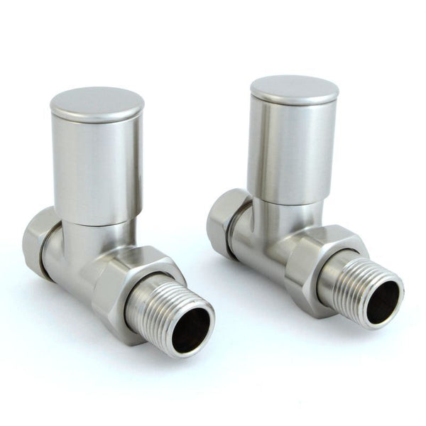 Milan Straight Radiator Valves - Satin Brushed Nickel