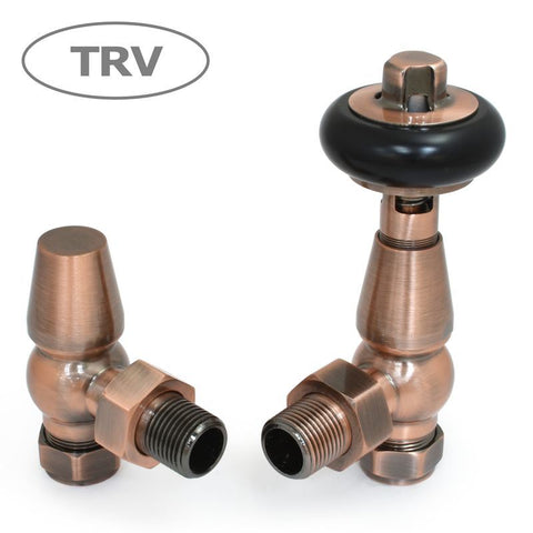 Faringdon Traditional Angled Thermostatic Radiator Valves Set - Antique Copper