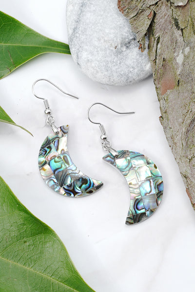 Abalone Shell Crescent Moon Earrings