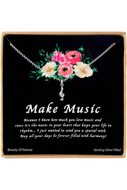 Sterling Silver Make Music Charm Necklace