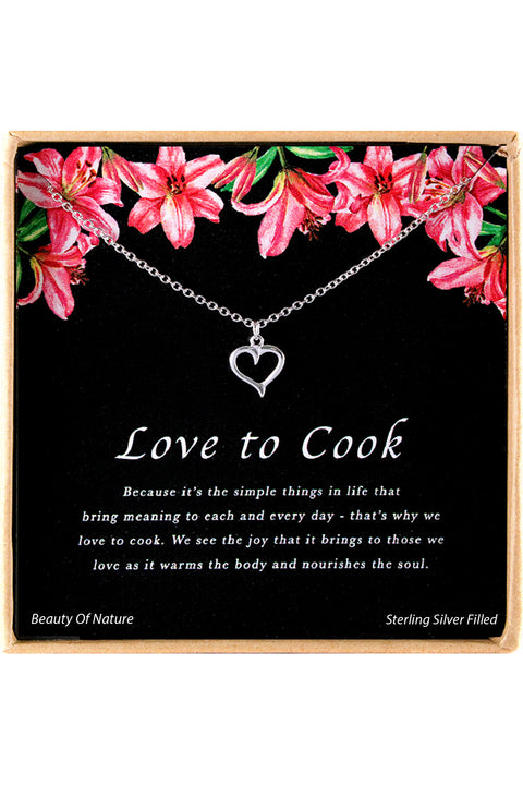 Sterling Silver Love To Cook Charm Necklace