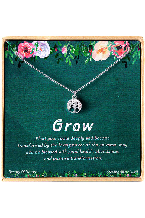 Sterling Silver Grow Charm Necklace