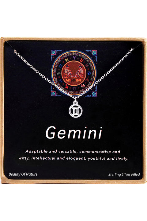 Sterling Silver Gemini Charm Necklace