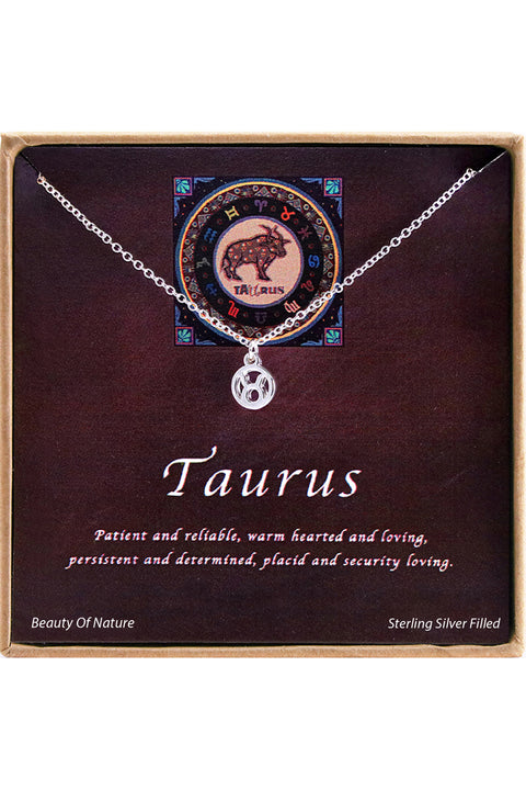 Sterling Silver Taurus Charm Necklace