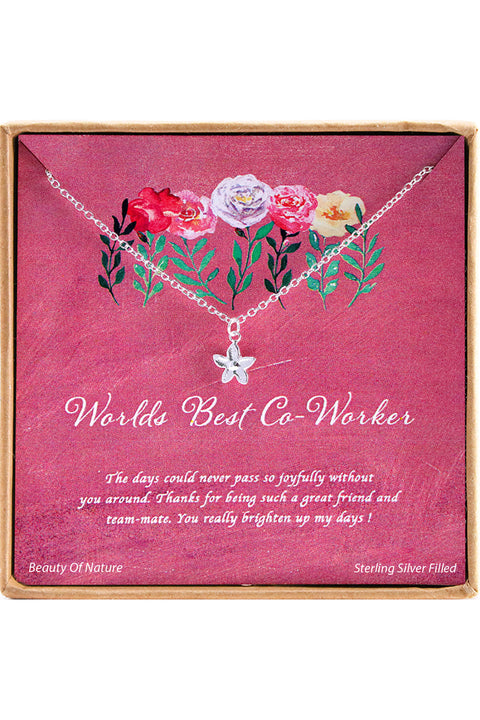 Sterling Silver Worlds Best Co-Worker Charm Necklace