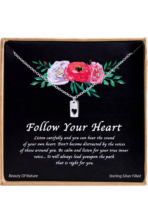 Sterling Silver Follow Your Heart Charm Necklace