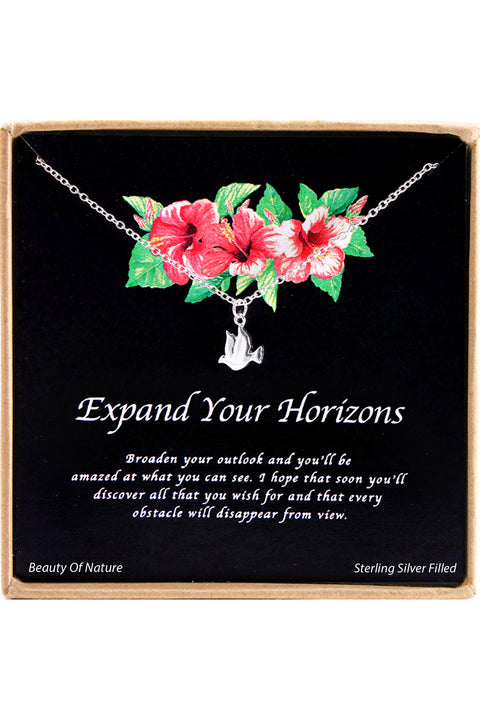 Sterling Silver Expand Your Horizons Charm Necklace