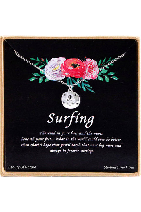 Sterling Silver Surfing Charm Necklace
