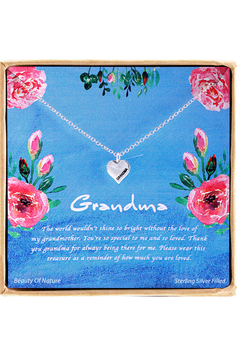 Sterling Silver Grandma Charm Necklace