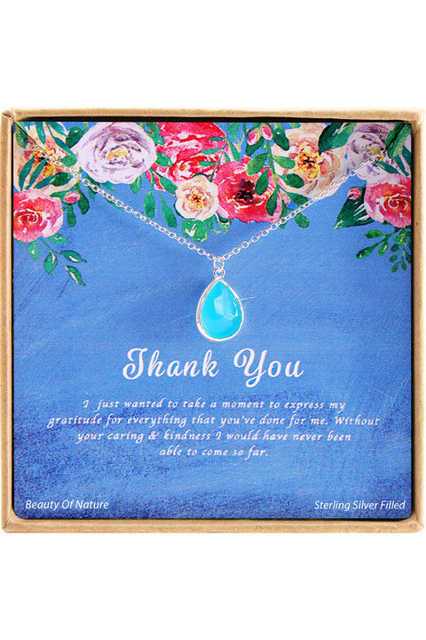 Sterling Silver Thank You Charm Necklace