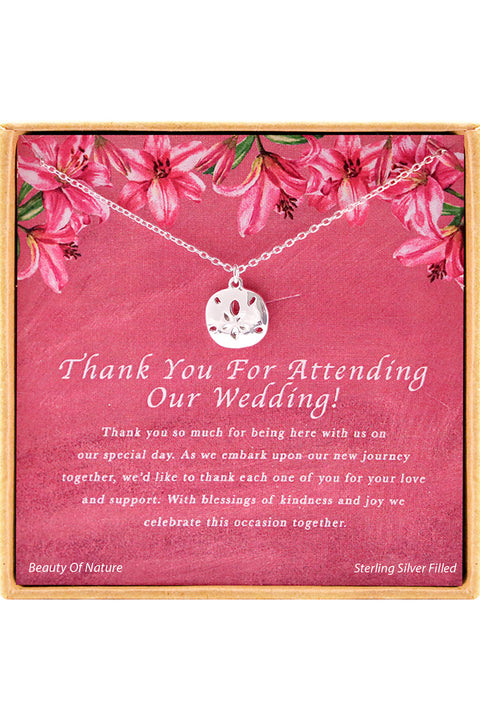 Sterling Silver Thank You For Attending Our Wedding Charm Necklace