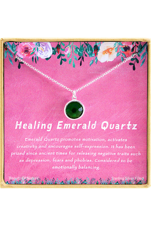 Sterling Silver Healing Emerald Crystal Charm Necklace