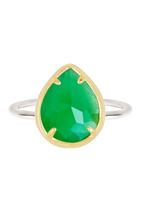 Sterling Silver With Green Chalcedony Crystal Teardrop Ring