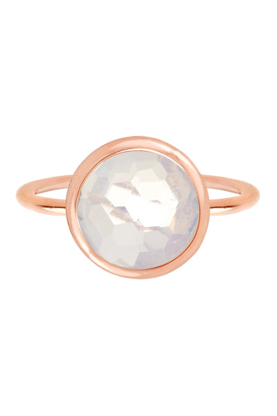 Moonstone Crystal & Sterling Silver Rose Goldtone Round Ring