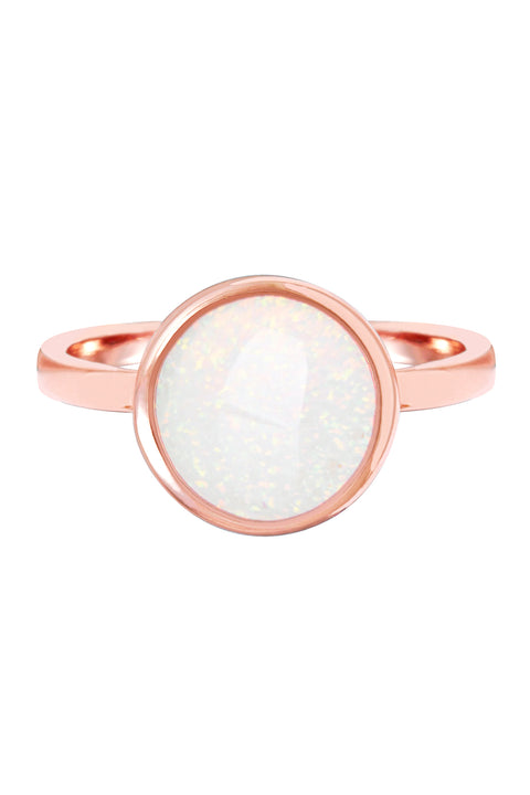 Created Opal 14k Gold Clad Cushion Set Round Ring