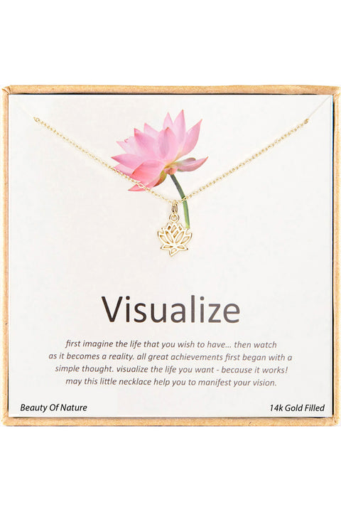 14k Gold Plated Sterling Silver Boxed 'Visualize' Inspiration Necklace