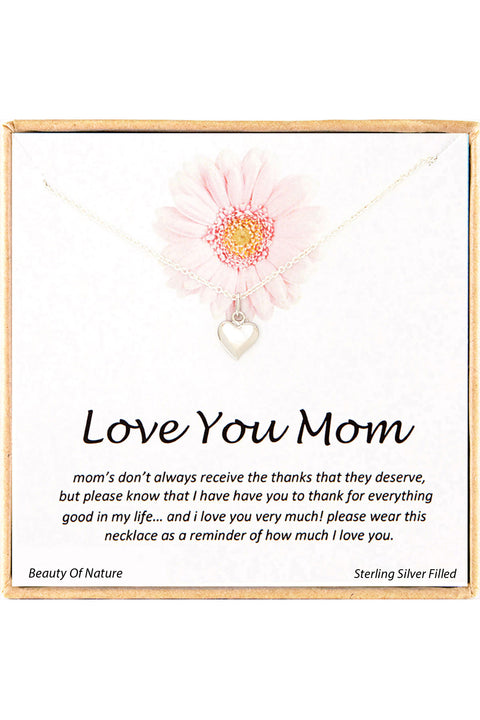 Sterling Silver Boxed 'Love You Mom' Inspiration Necklace