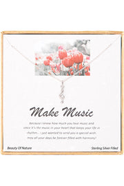 Sterling Silver Boxed 'Make Music' Inspiration Necklace