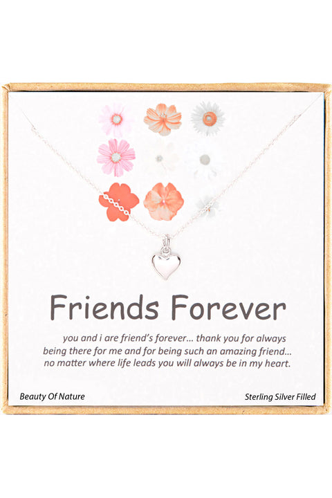 Sterling Silver Boxed 'Friends Forever' Inspiration Necklace
