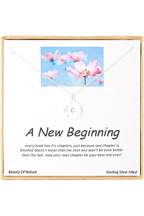 Sterling Silver Boxed 'A New Beginning' Inspiration Necklace
