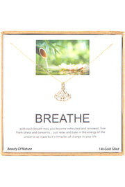 14k Gold Plated Sterling Silver Boxed 'Breathe' Inspiration Necklace