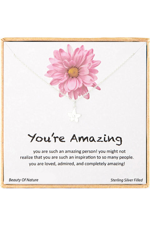 Sterling Silver Boxed 'You're Amazing' Inspiration Necklace