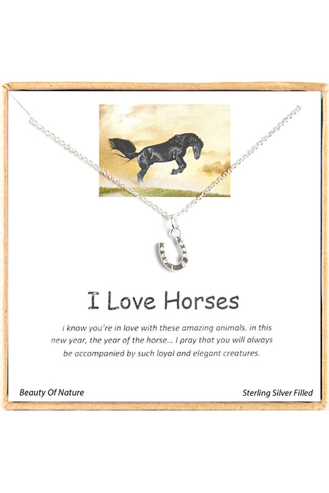Sterling Silver Boxed 'I Love Horses' Inspiration Necklace