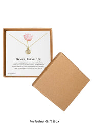 14k Gold Plated Sterling Silver Boxed 'Never Give Up' Inspiration Necklace