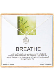 Sterling Silver Boxed 'Breathe' Inspiration Necklace