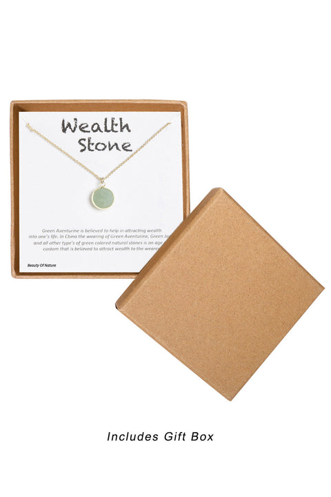 14k Gold Plated Sterling Silver Boxed 'Wealth Stone' Inspiration Necklace