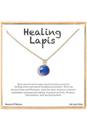 14k Gold Plated Sterling Silver Boxed 'Healing Lapis' Inspiration Necklace