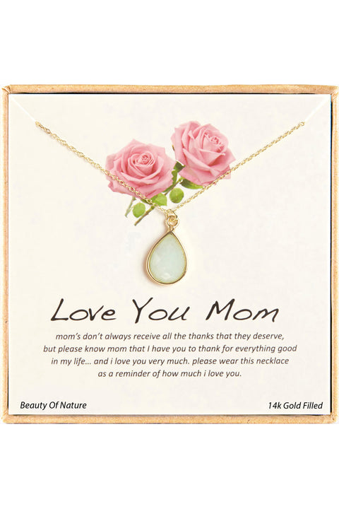 14k Gold Plated Sterling Silver Boxed 'Mom' Inspiration Necklace