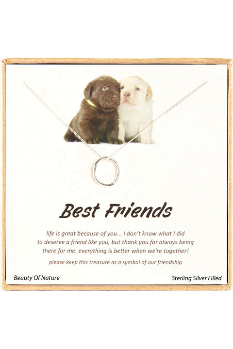 Sterling Silver Boxed 'Best Friends' Inspiration Necklace