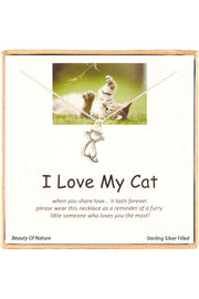 Sterling Silver Boxed 'I Love My Cat' Inspiration Necklace