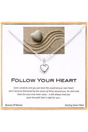 Sterling Silver Boxed 'Follow Your Heart ' Inspiration Necklace