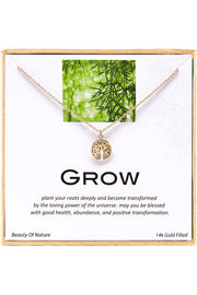 14k Gold Plated Sterling Silver Boxed 'Grow' Inspiration Necklace