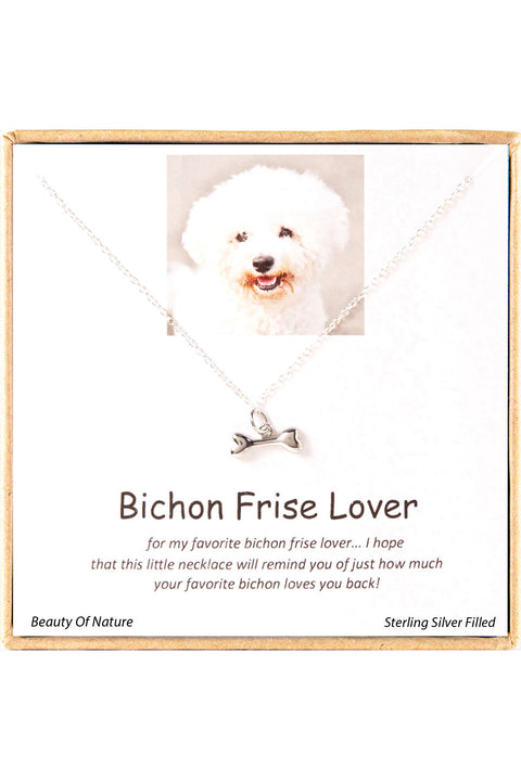 Sterling Silver Boxed 'Bichon Frise Lover' Inspiration Necklace