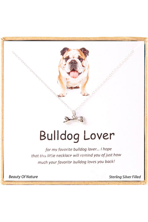 Sterling Silver Boxed 'Bulldog Lover' Inspiration Necklace