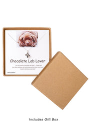 Sterling Silver Boxed 'Chocolate Lab Lover' Inspiration Necklace