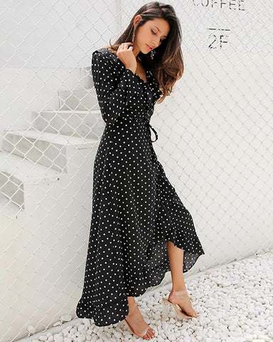 Long Sleeve Polka Dot Wrap Maxi Dress