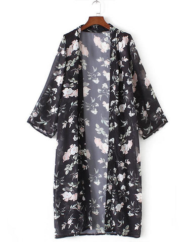 I Feel Good Long Floral Kimono Cardigan