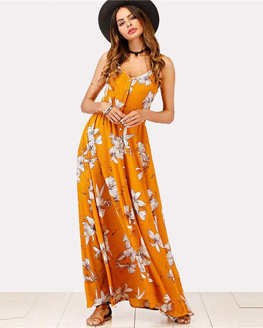 San Pedro Sleeveless Floral Maxi Dress