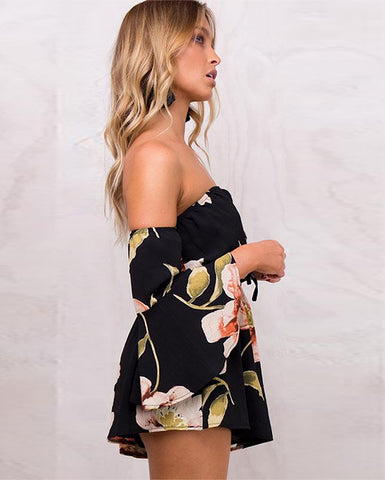 Bloom Fields Floral Flare Sleeve Romper