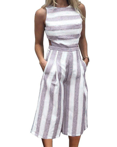 Off The Clock Striped Jumpsuit
