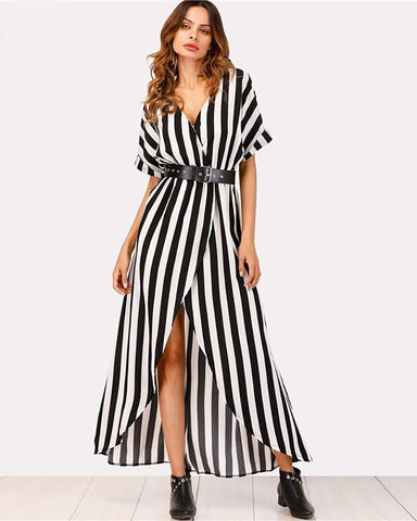 Captivate Tie Waist Striped Maxi Dress
