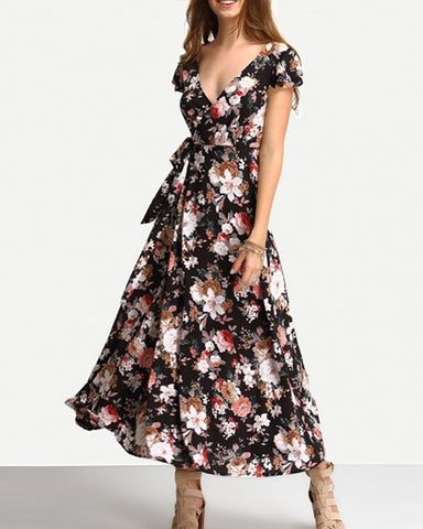 Here I Go Short Sleeve Floral Wrap Maxi Dress