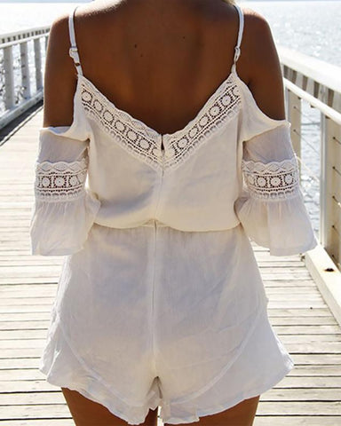 Lace V-Neck Chiffon Beach Romper